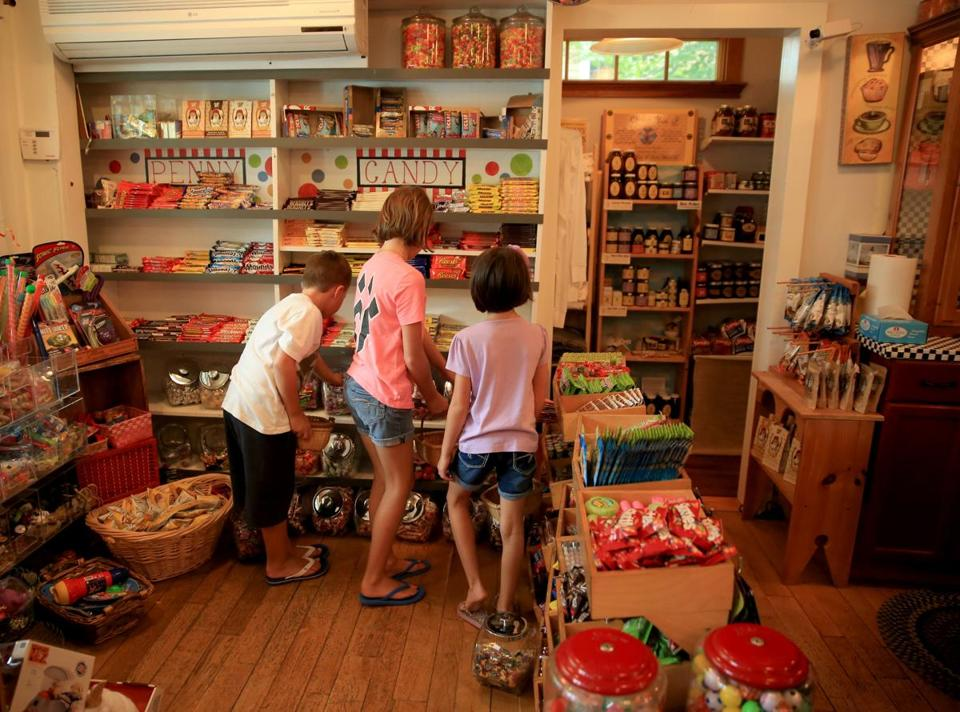 The candy section at the Marshfield Hills General store offers a wide selection.