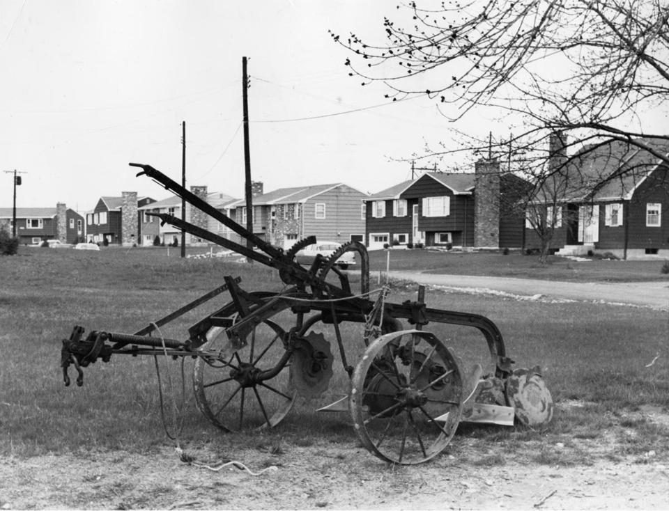 This plow, pictured in 1961, once tilled fields where houses now stand in Concord.