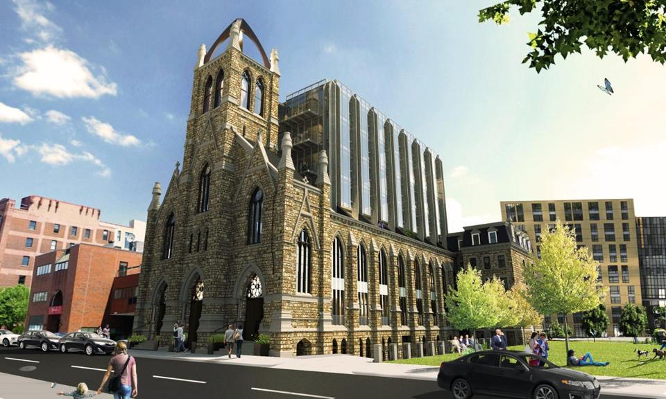 Architect's rendering of the conversion of Holy Trinity German Catholic Church in the South End.