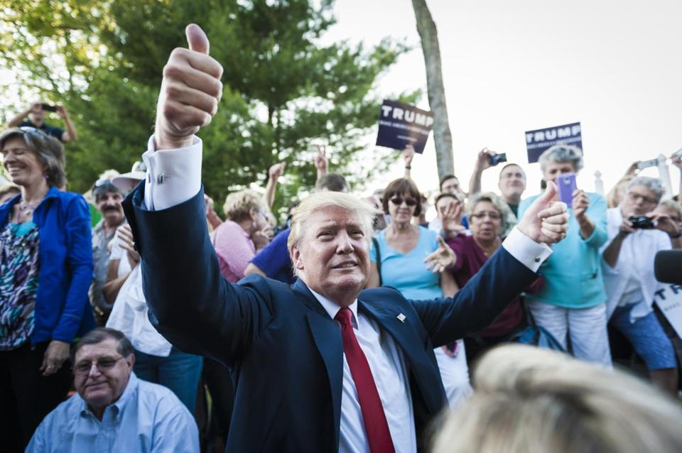 Donald Trump, the real-estate mogul and reality television personality, campaigns in Laconia, N.H., on July 16.