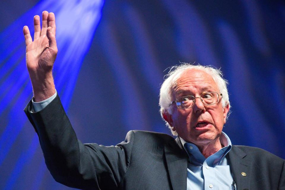 Bernie Sanders addressed protesters at the Netroots Nation presidential town hall in Phoenix on July 18.