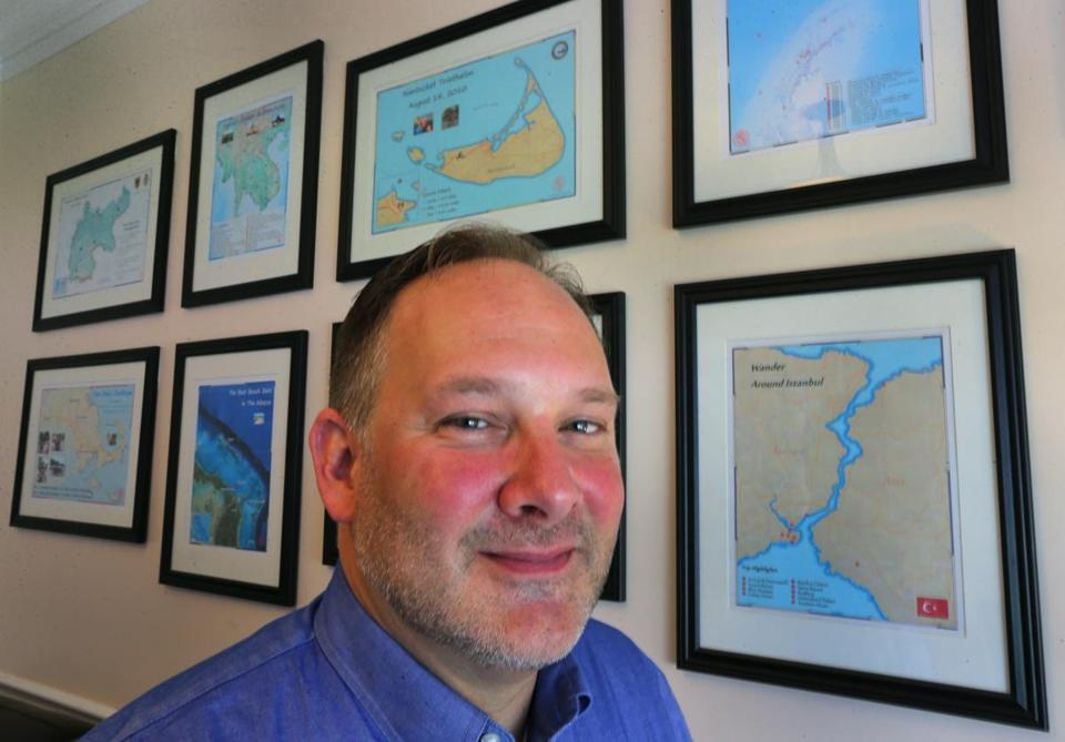 Bridgewater mapmaker Scott Lussier started out chronicling the travels of his friends, but has expanded the pastime into a business.