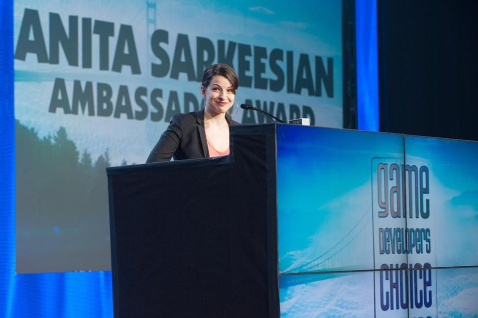Feminist blogger and cultural critic Anita Sarkeesian, at last year's Game Developers Choice Awards.