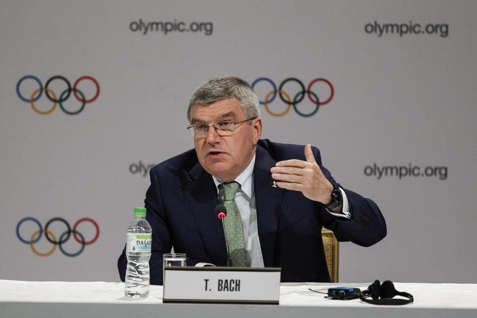 International Olympic Committee (IOC) President Thomas Bach speaks during a press conference in Kuala Lumpur, Malaysia, Wednesday, July, 29, 2015. Malaysia is hosting the 128th IOC executive board meeting where the vote for the host cities of the 2022 Olympic Winter Games and for the 2020 Youth Olympic Winter Games will take place.(AP Photo/Joshua Paul)