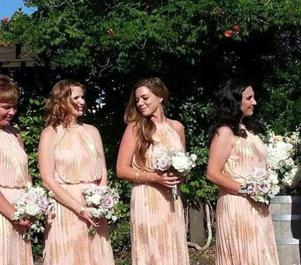 "Kate Steinle, center, as a bridesmaid. Steinle was killed on July 1 in  San Francisco, a ""sanctuary city."""