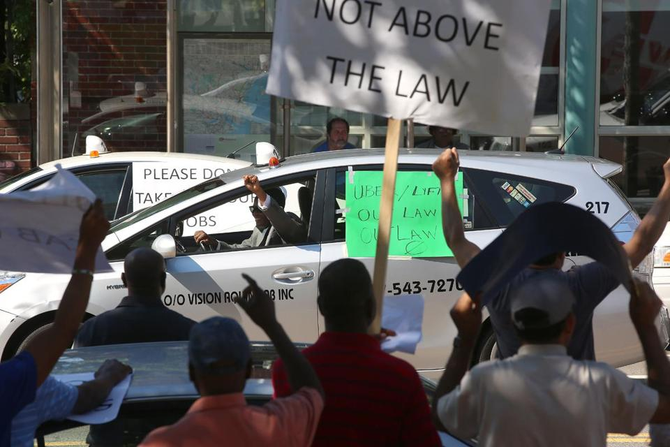 Several passing motorists honked in sympathy with the cab drivers, but most were not impressed with the protest.