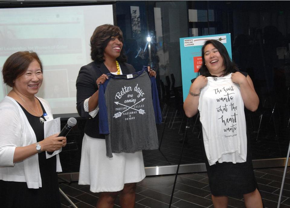 From left: Suzanne Lee, Boston City Councilor Ayanna Pressley, and Lisa Wong.