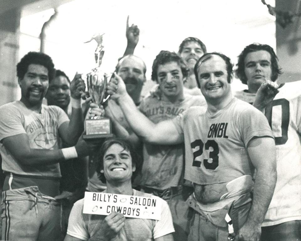 Keith Tillman, left, and teammates celebrate Billy's Cowboys winning the Boston Park League championship in 1976.