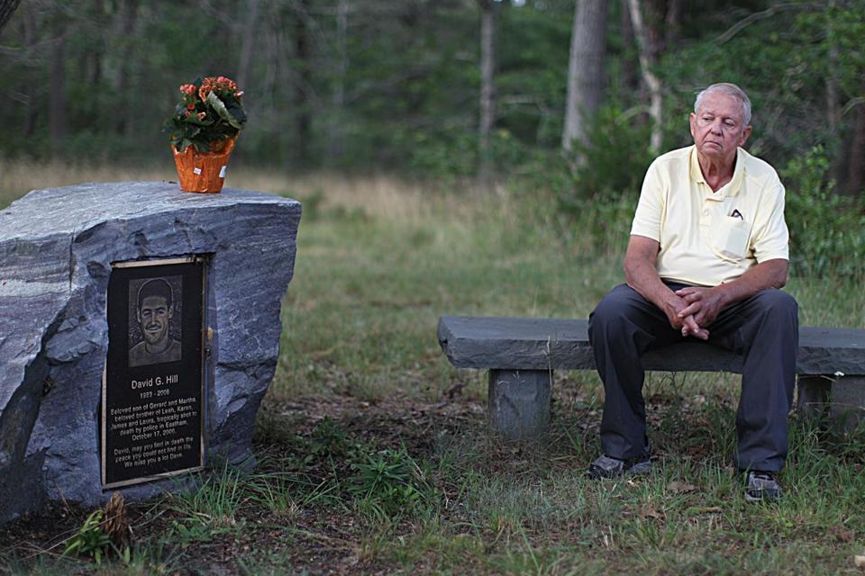 Eastham, Ma., 08/04/15, Gerry Hill, father of David who was shot and killed by police. This is a memorial on his property. For Jenna Russell story on mental health and the police. Suzanne Kreiter/Globe staff