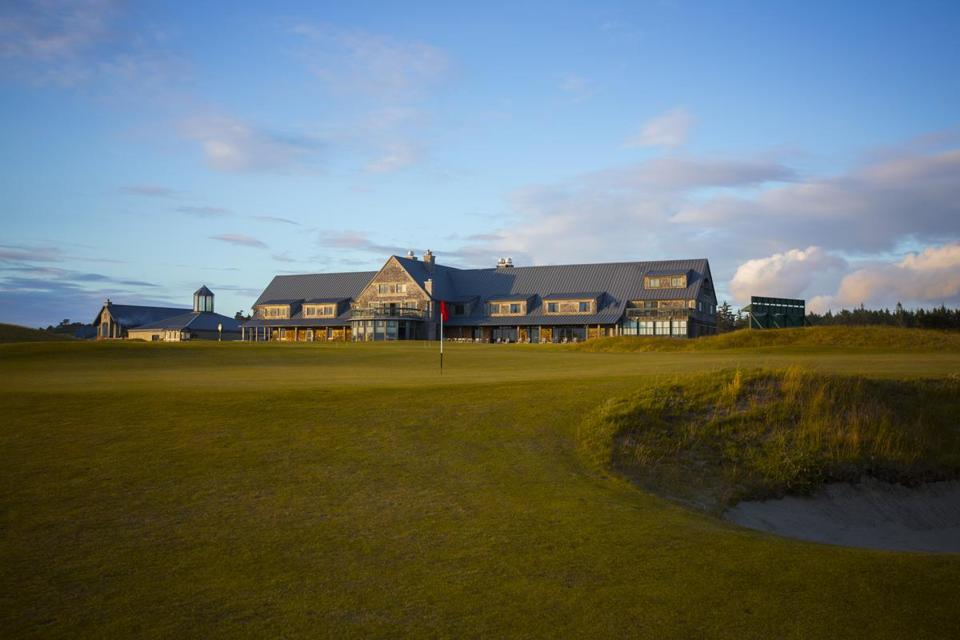 The Lodge and outbuildings at Bandon Dunes Golf Resort look onto the 18th hole on Bandon Dunes.
