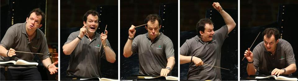 Andris Nelsons isn't at a loss when it comes to making expressive gestures while he works.
