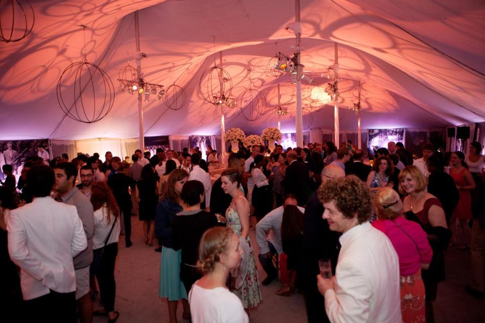 "Lenox, MA -- 08/08/15 -- An view of the party at the Tanglewood Gala on August 8, 2015, in Lenox, Massachusetts. The Tanglewood Music Center celebrated it's 75th anniversary with a gala, and performance of Mahler's Symphony No 8, ""Symphony of a Thousand,"" conducted by BSO Music Director Andris Nelsons. (Kayana Szymczak for the Boston Globe)"