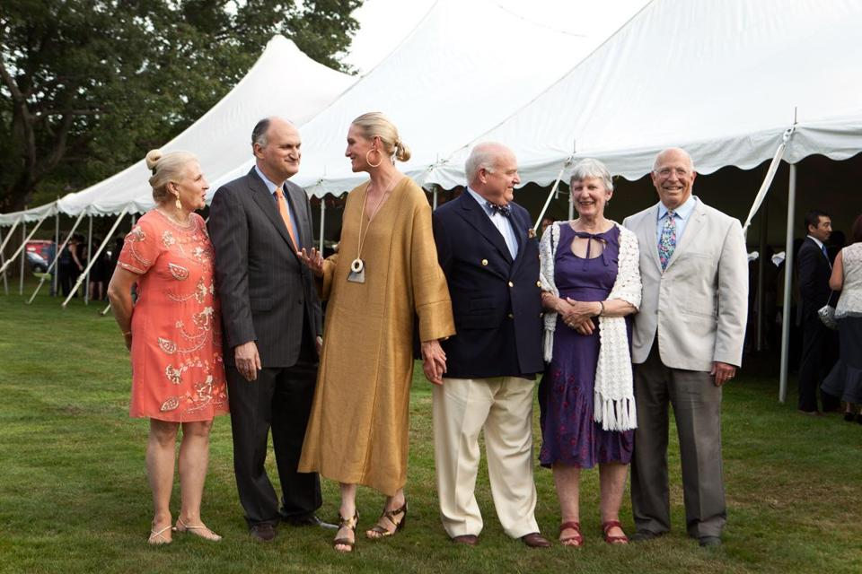 "Lenox, MA -- 08/08/15 -- L-R: Martha Volpe, Mark Volpe, Alli Achtmeyer, Bill Achtmeyer, Katie Buttenwieser, and Paul Buttenwieser attended at the Tanglewood Gala on August 8, 2015, in Lenox, Massachusetts. The Tanglewood Music Center celebrated it's 75th anniversary with a gala, and performance of Mahler's Symphony No 8, ""Symphony of a Thousand,"" conducted by BSO Music Director Andris Nelsons. (Kayana Szymczak for the Boston Globe)"