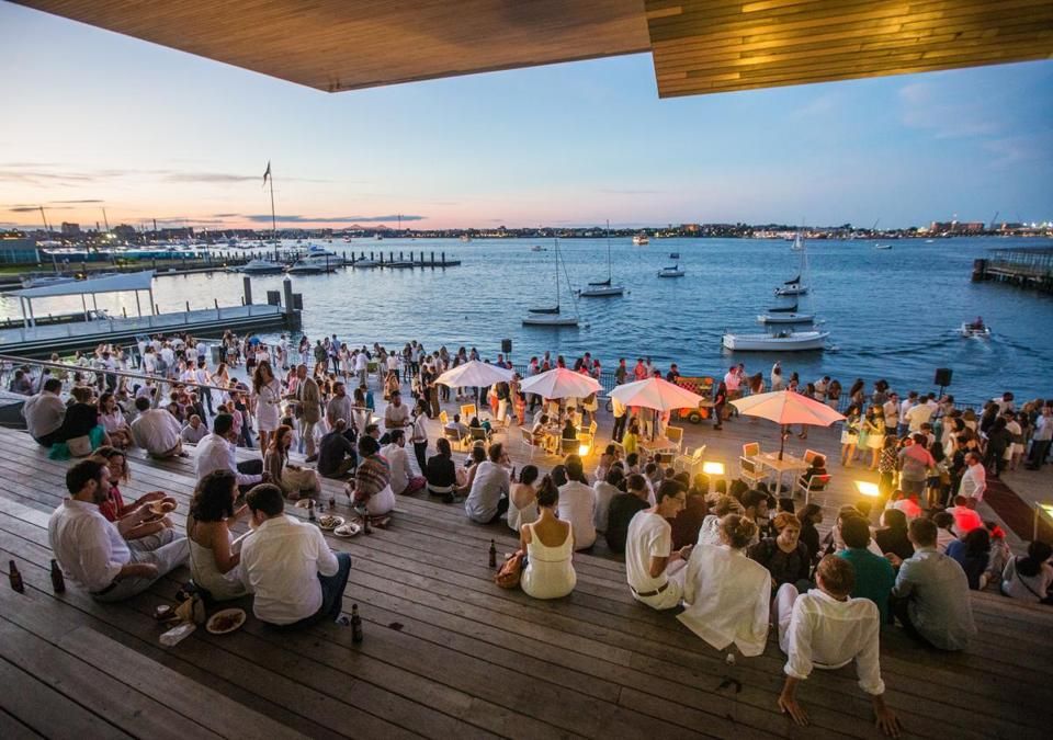 08/07/2015 BOSTON, MA Crowds gathered along the water during a White Party at the ICA in Boston. (Aram Boghosian for The Boston Globe)