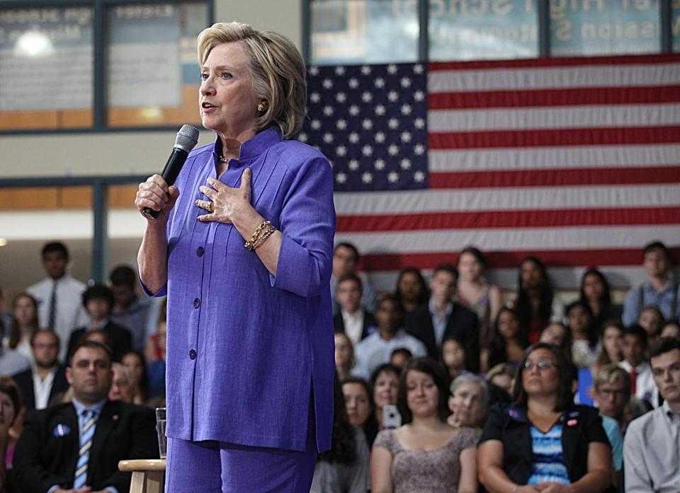 Hillary Clinton was at an event at Exeter High School in New Hampshire on Monday.