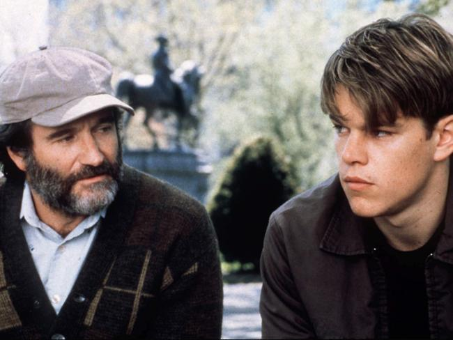 "Robin Williams, left, and Matt Damon in ""Good Will Hunting."" It is the one-year anniversary of Williams' death."