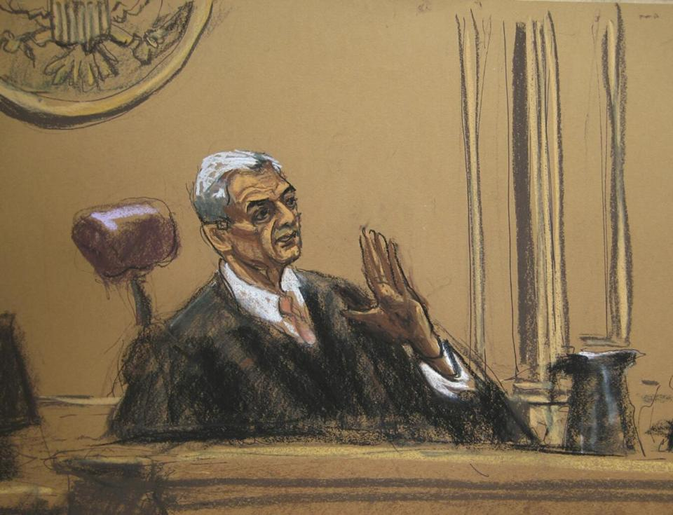 A courtroom sketch of Judge Richard M. Berman during Wednesday's settlement hearing in New York.