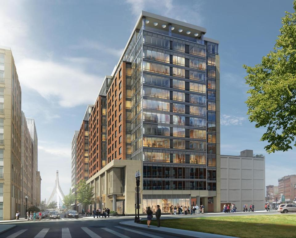 Rendering of a proposed 239-unit apartment building and hotel at Parcel 1B, in the Bulfinch Triangle near North Station.