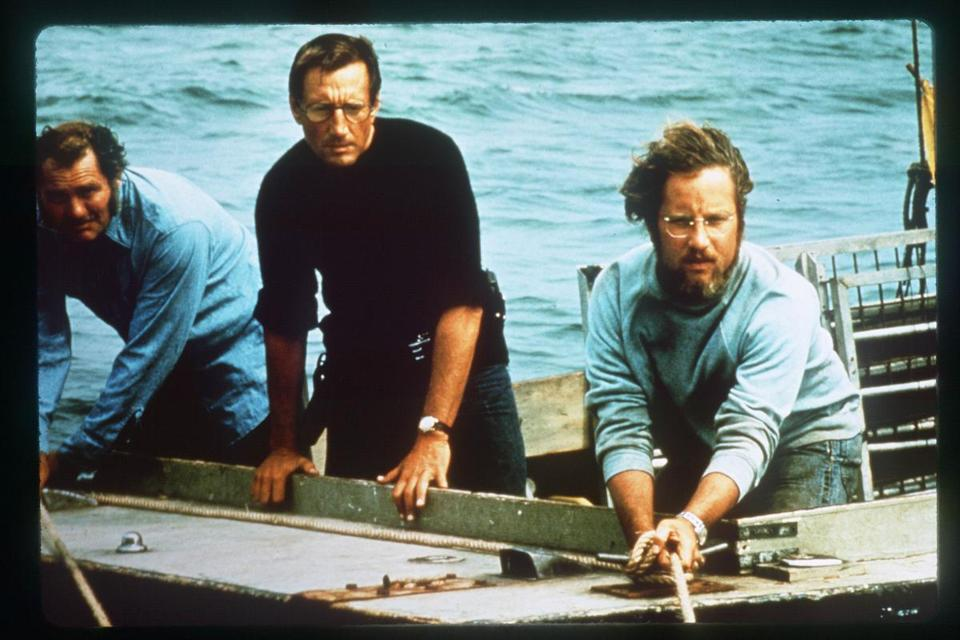 "Robert Shaw, Roy Scheider, and Richard Dreyfuss (from left) in ""Jaws."""