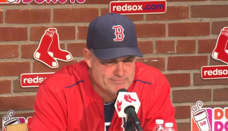 8/4/2015 - John Farrell announces his stage 1 lymphoma diagnosis to the media. (WBZ)