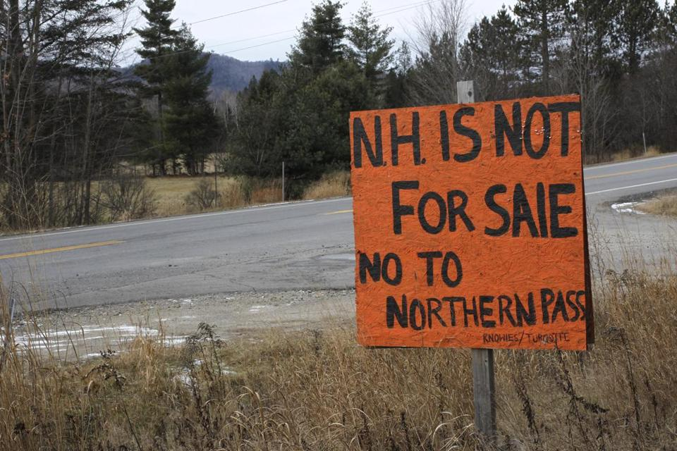 A sign along Route 3 in Stratford, N.H., expressed opposition to the planned $1.4 billion Northern Pass hydroelectric project.