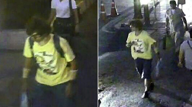 Images from security video showed a man in a yellow shirt at the crowded Erawan Shrine who removed his backpack and left it behind as he walked away; police said the man was responsible for the bombing.