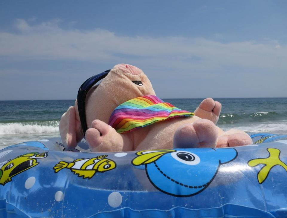 Yawkey reclines in an inner tube at the beach in Seabrook, N.H. (Mary Schwalm)