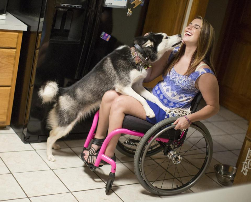 Jesi Stracham, 23, of Iron Station, N.C., was in a motorcycle accident in January that left her paralyzed from the chest down. She is taking part in a clinical trial of the InVivo's spinal scaffold, which aims to aid healing.
