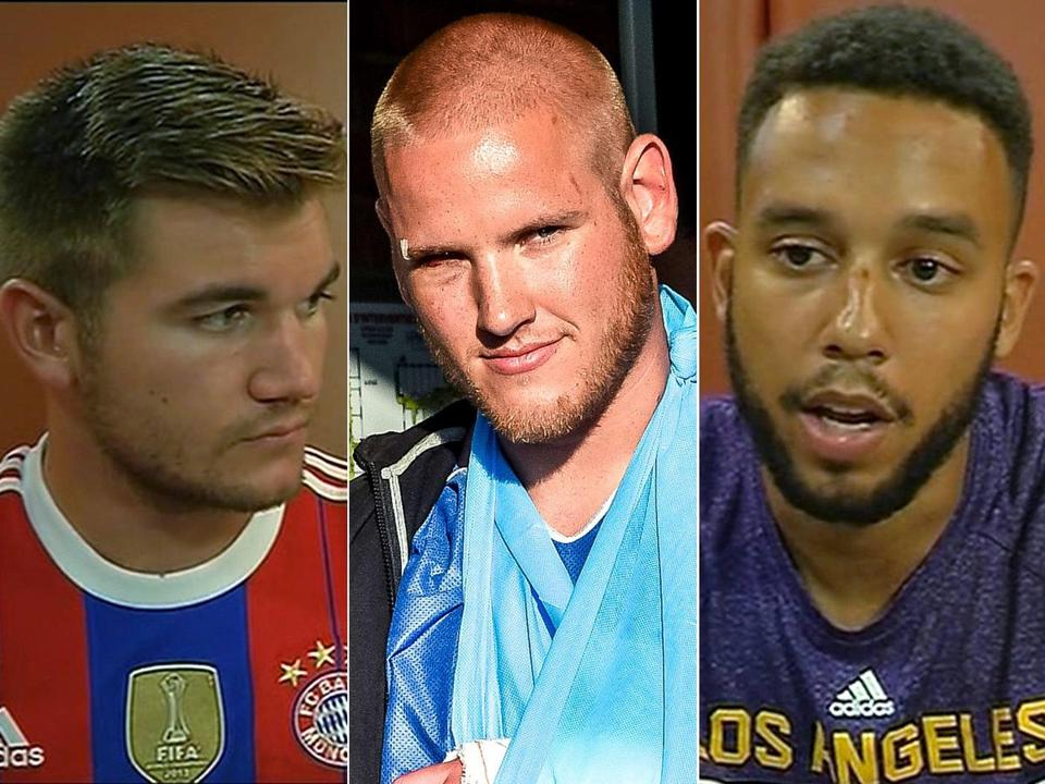 Americans (from left) Alek Skarlatos, Spencer Stone, and Anthony Sadler on Friday helped subdue a suspected gunman aboard a high-speed train in France.