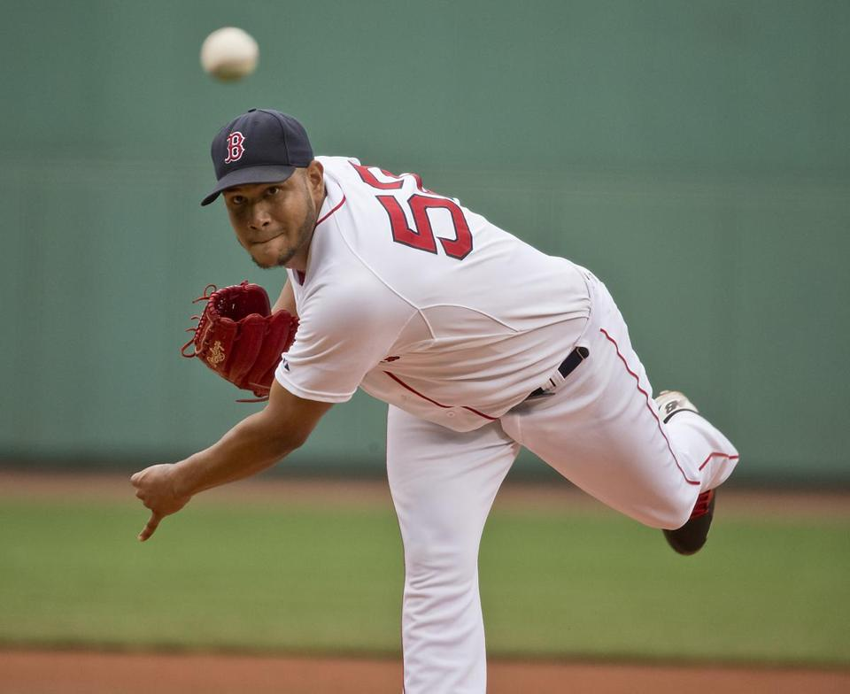 Boston MA 8/23/15 Boston Red Sox starting pitcher Eduardo Rodriguez delivers a pitch against the Kansas City Royals during first inning action at Fenway Park on Sunday August 23, 2015. (Boston Globe photo by Matthew J. Lee/Globe staff) Topic: 24sox Reporter: Peter Abraham