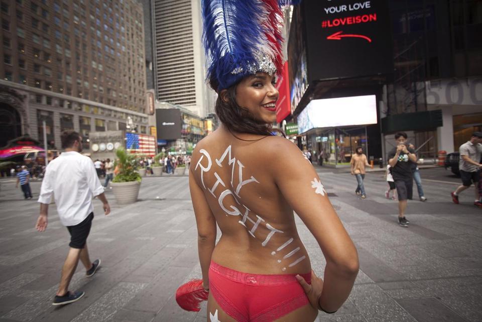 Topless women in public