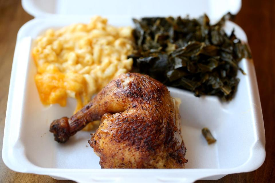 The Rotisserie in Dorchester; where one can get chicken with mac and cheese and collard greens.