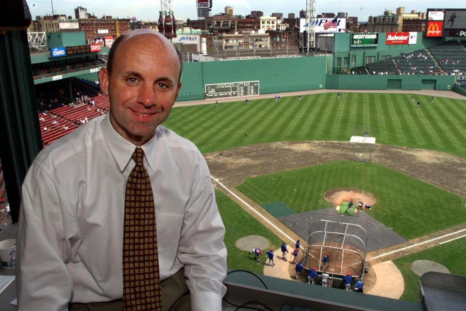 5-23-99:Fenway Park, Boston:Red Sox TV broadcaster Sean McDonough inside the booth high above the field, where he and his partner Jerry Remy call the Boston home games. LIBRARY TAG 06041999 SPORTS Library Tag 12282001 SPORTS