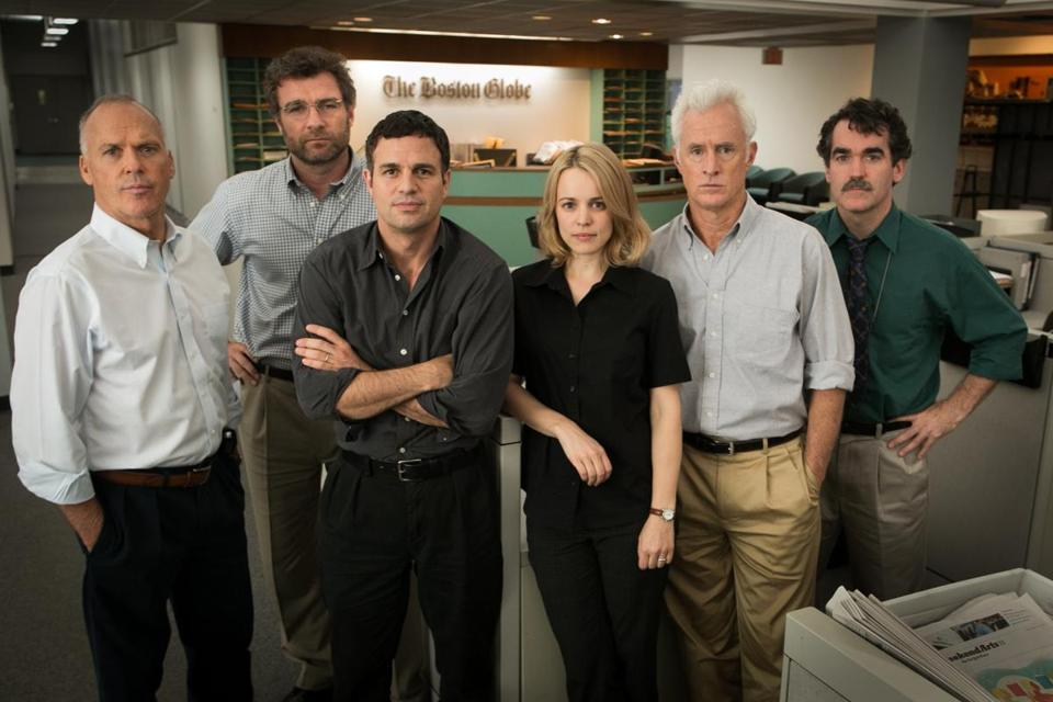 "From left: Michael Keaton, Liev Schreiber, Mark Ruffalo, Rachel McAdams, John Slattery, and Brian d'Arcy James on the ""Spotlight"" set."