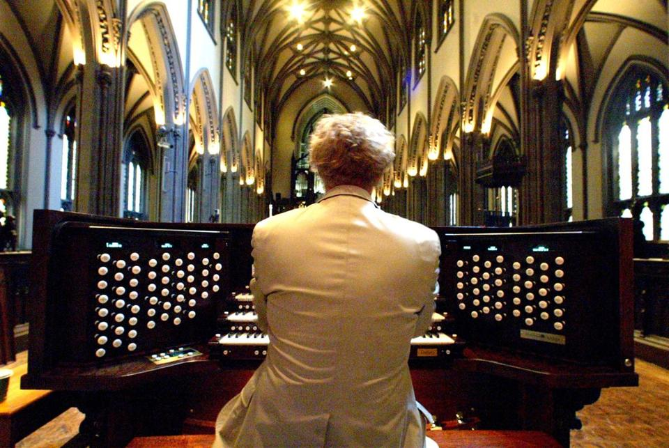 An electronic organ made by Marshall & Ogletree was installed in Trinity Church in New York on Sept. 11, 2003.