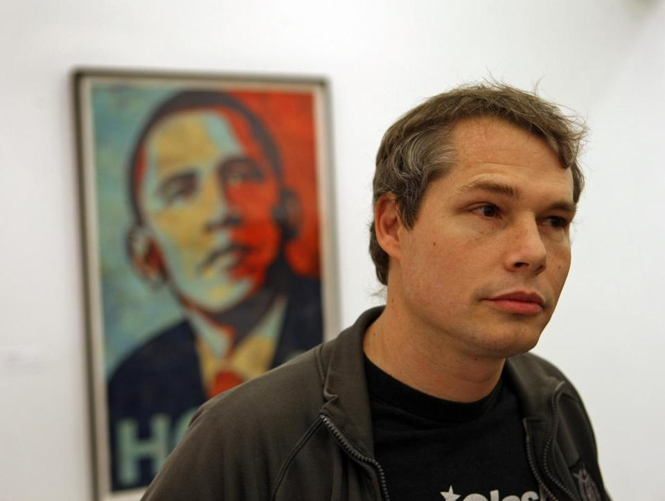 Artist Shepard Fairey with his portrait of former President Barack Obama.