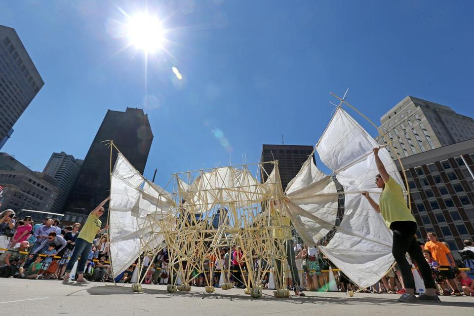 A Strandbeests was strolling across City Hall Plaza Friday under the sun.