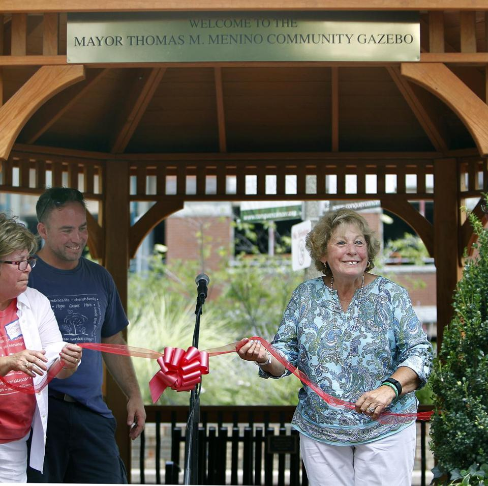 Angela Menino participated in the ribbon cutting for the gazebo.