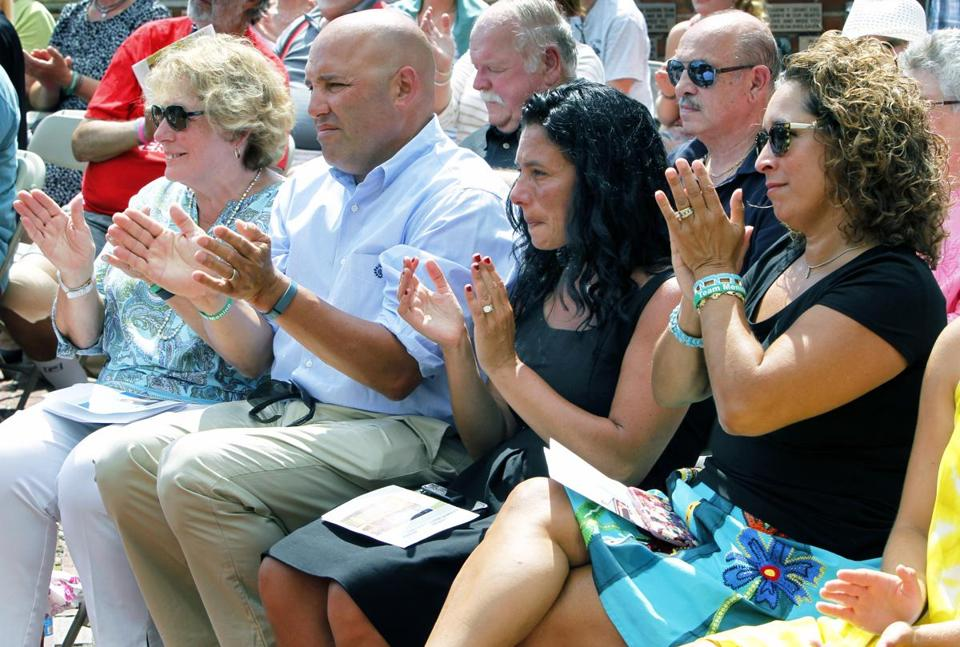 Among the family members present at the ceremony were (from left) widow Angela Menino, son Thomas Menino Jr., daughter-in-law Lisamarie Menino, and daughter Susan Menino.