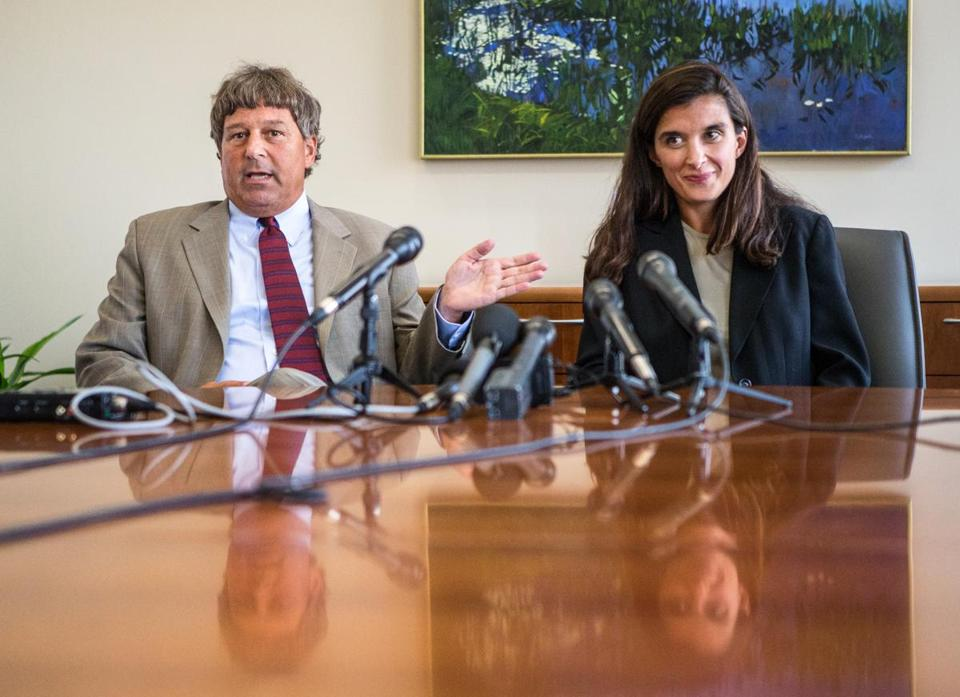 Attorneys David Meier (left) and Melinda Thompson discussed Aisling Brady McCarthy's case Monday during a news conference at a Boston law firm.