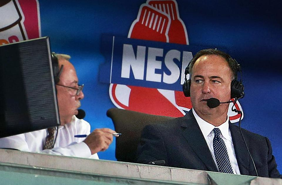 08/31/15: Boston, MA: Red Sox television announcers Jerry Remy (left) and Don Orsillo (right) are pictured in the booth during the game. The Boston Red Sox hosted the New York Yankees in a regular season MLB baseball game at Fenway Park. (Globe Staff Photo/Jim Davis) section:sports topic:Red Sox-Yankees (1)