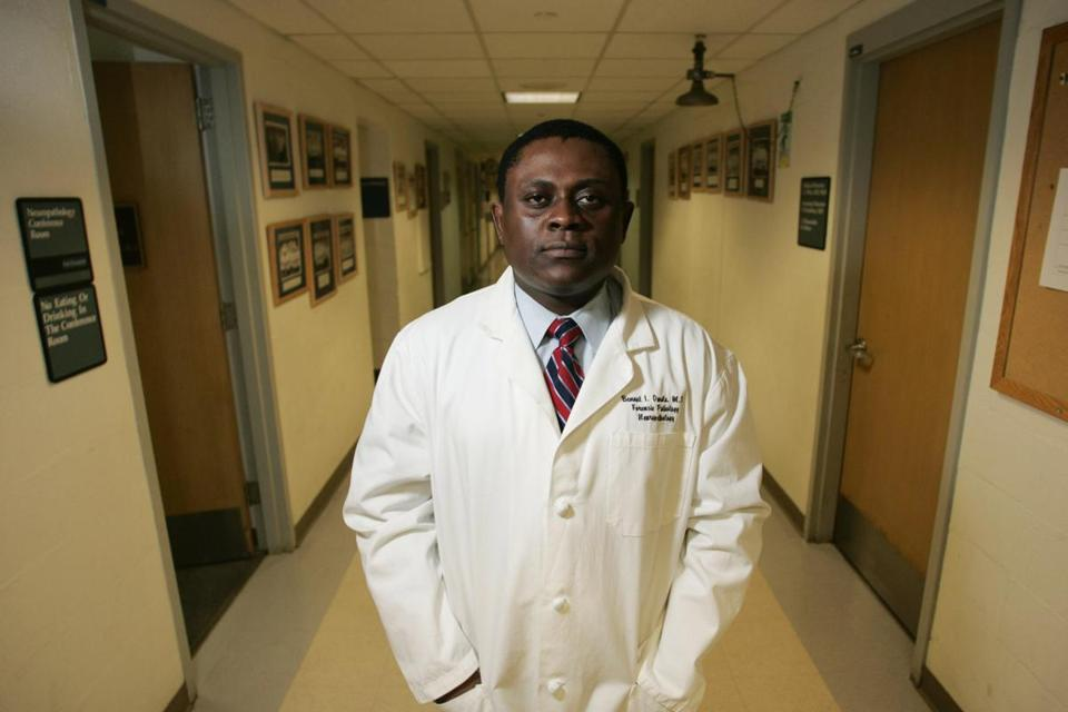 "FILE — Dr. Bennet Omalu, who identified a degenerative brain disease linked to repeated head hits, at the University of Pittsburgh Medical Center Presbyterian Hospital in Pittsburgh, Jan. 2007. Will Smith portrays Omalu in the film ""Concussion."" In dozens of emails unearthed by hackers, Sony Pictures executives and others discussed altering the script and marketing the movie more as a whistle blower story than as a condemnation of the NFL. (Lisa Renee Kyle/The New York Times)"