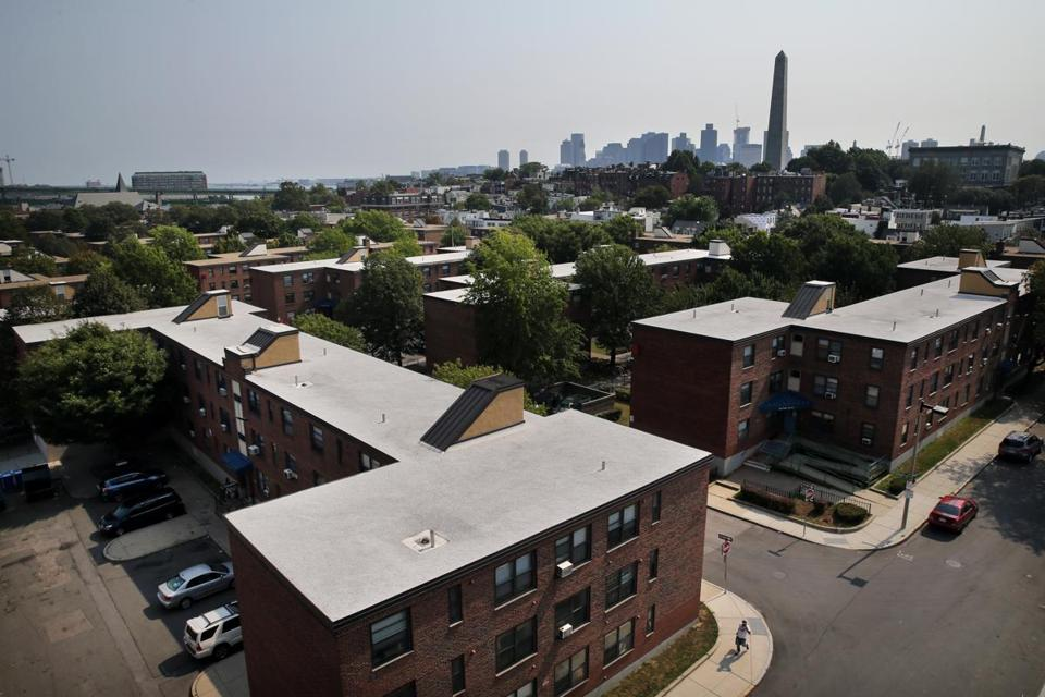 The Bunker Hill Housing Development sits in the shadows of the Bunker Hill Monument and downtown Boston.