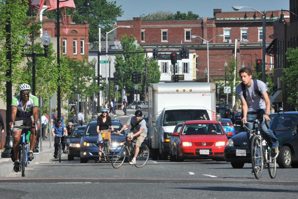 Bicycle commuters were spotted near Porter Square in 2011.