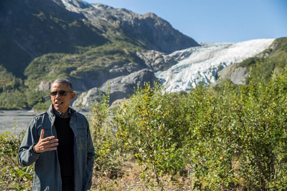 "Hiking at an Alaskan national park, President Obama said, ""We want to make sure that our grandkids can see this.''"