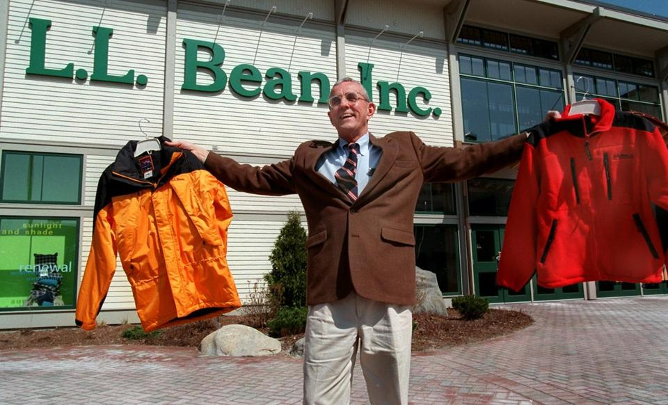 Leon Gorman showed off a couple of  L.L. Bean's mainstays, the Mountain Guide Parka and All Conditions fleece jacket.  He was named president of the company in 1967.