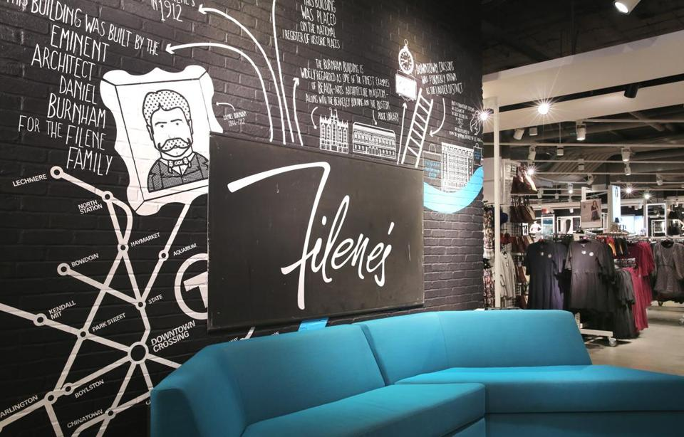 "Customers can  ""chill out and recharge"" on the second floor of the new Primark store in Downtown Crossing, where the Irish chain pays homage to the building's Filene's roots."