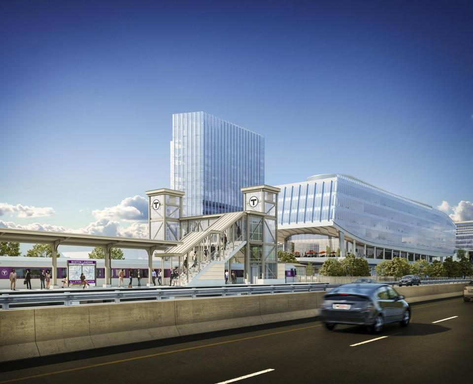 New Balance Athletic Shoe provided $20 million to help pay for a new commuter rail station next to the company's new headquarters in Brighton, depicted in the rendering above.