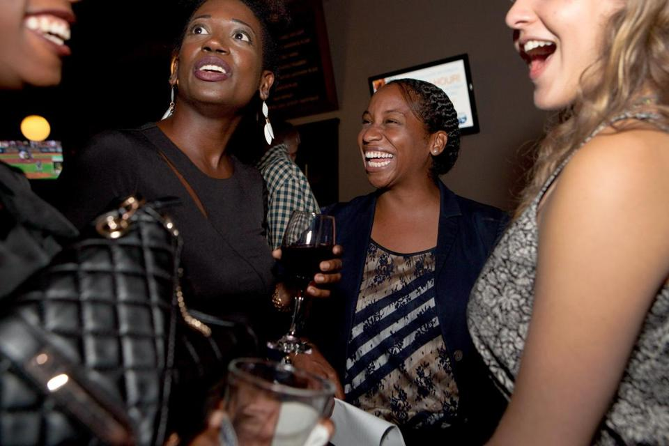 Andrea Campbell (second from right) and supporters celebrated her success in last week's City Council primary.
