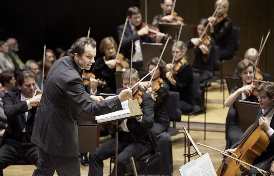 Conductor Andris Nelsons with the Leipzig Gewandhaus Orchestra.